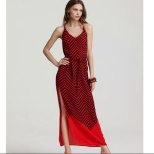 French Connection Silk Maxi Dress Red
